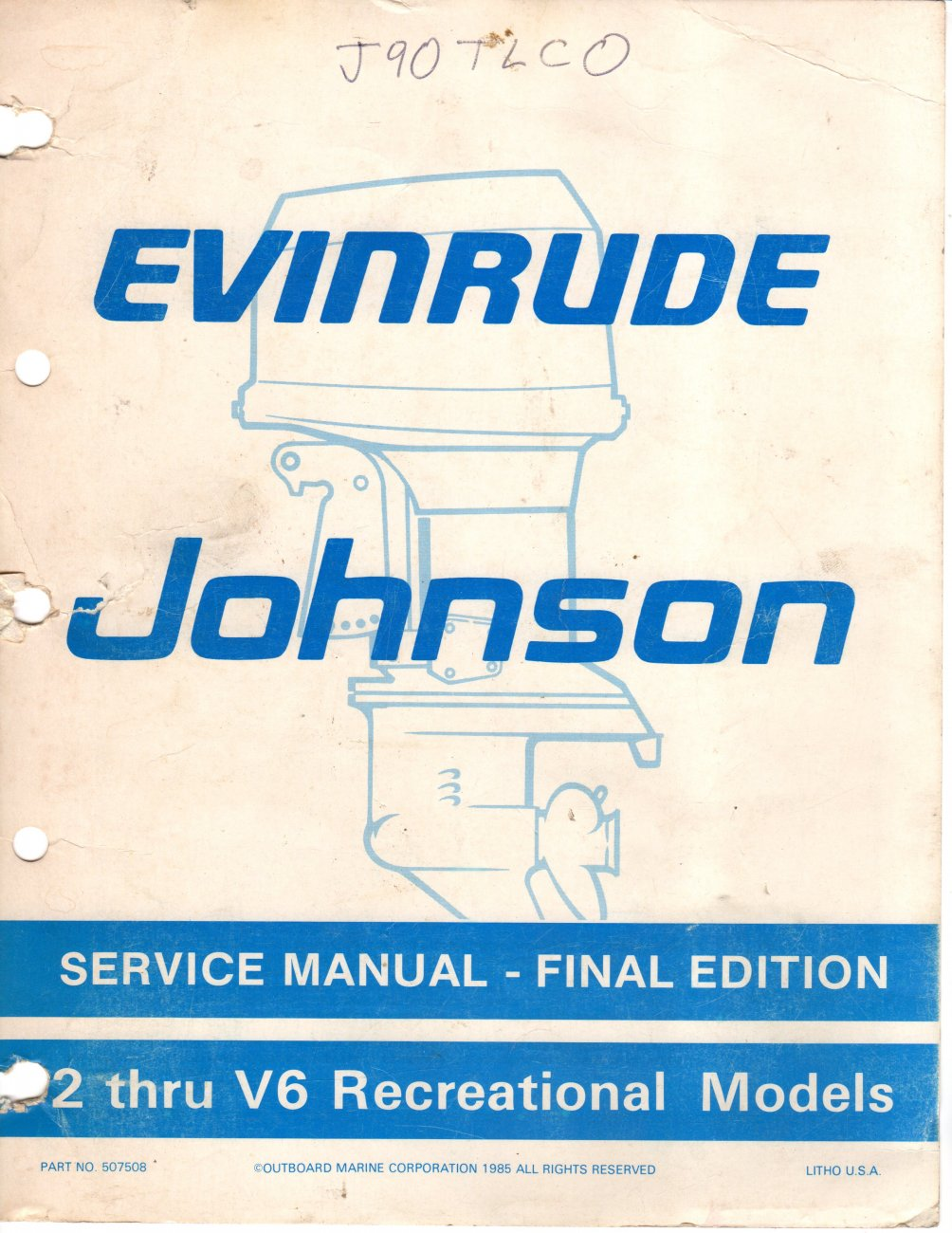 Dealer Repair Manual JohnsonEvenrude OMC 2HP- V6 Models Printed 1985 Just $40..jpg